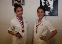 Winner for Nail Art Gold, senior Jonatzy Chavez and winner for Nail Art Silver, junior  Melisa Melgoza.