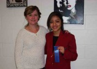 Advanced to State Photo Panel - junior Yoana Garcia with Mrs. Marilee Smith.