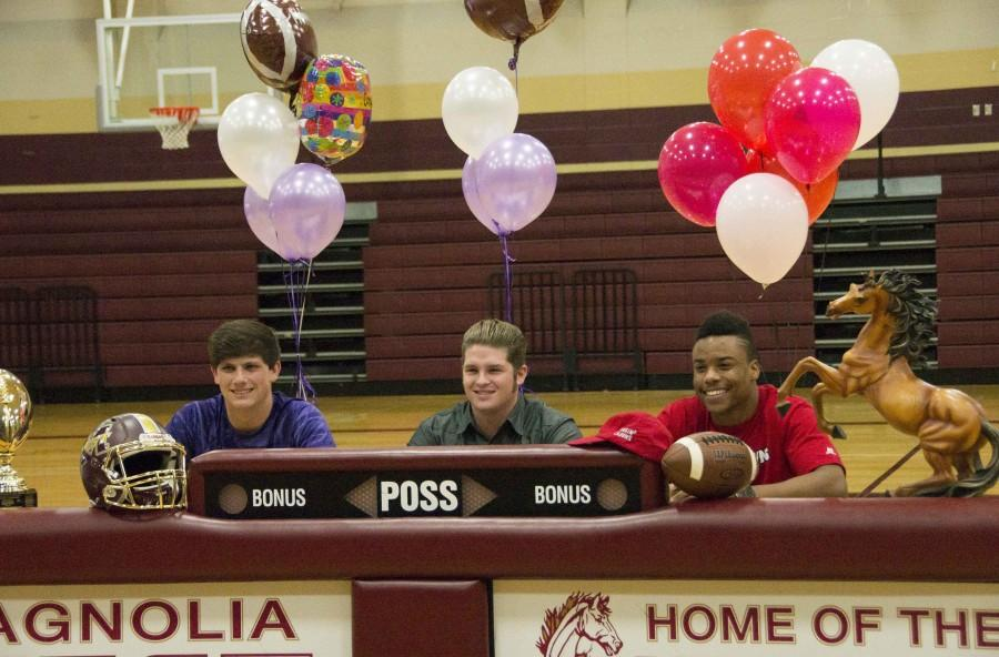 Mustang Athletes sign letters of intent.   Tyler Ferre, Stephen F. Austin State University,  Mason Storrs, Millsaps College,and Damarren Mitchell, University of Louisiana at Lafayette.