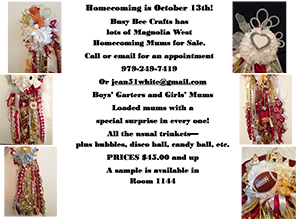 Jean White Ad For Homecoming Mums