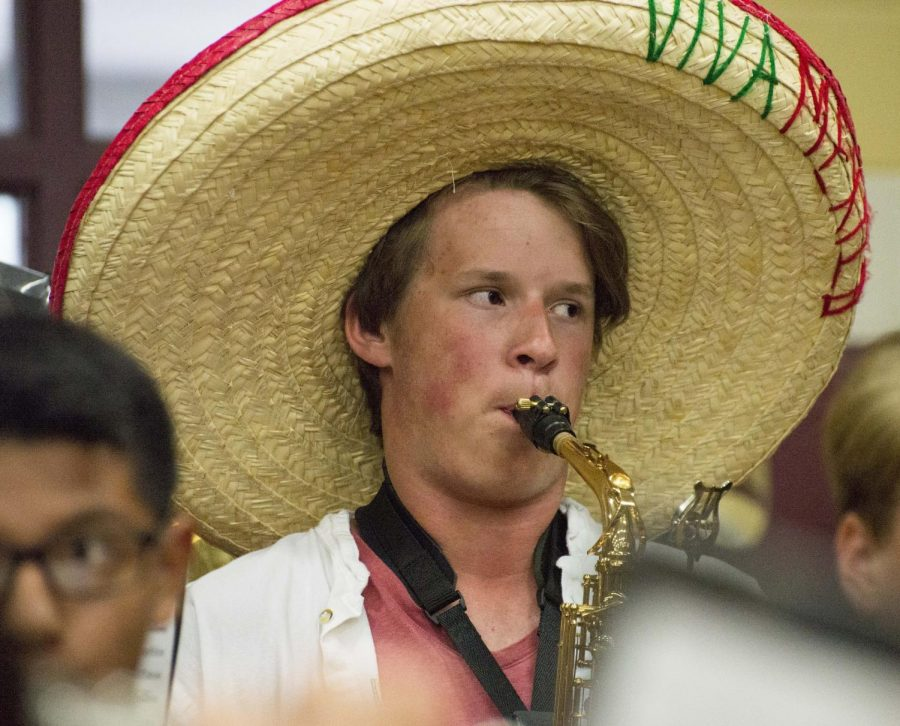 Viva Mexico! Sophomore Jackson Purvis wears his straw hat during the Brenham pep rally in support of Western Day.