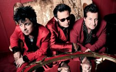 Billie Joe Armstrong, Mike Dirnt and Tre' Cool of the musical group Green Day.